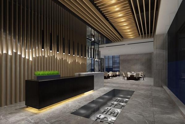 现代餐厅前台 现代前台接待 餐厅 前台入口 接待台 吊灯 吊顶 餐桌椅