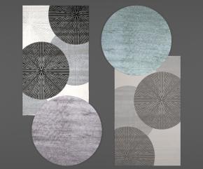 现代布艺地毯组合3D模型
