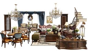 欧式沙发茶几餐桌椅电视柜楼梯组合3D模型