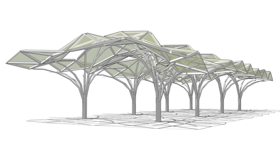 现代树形廊架SU模型