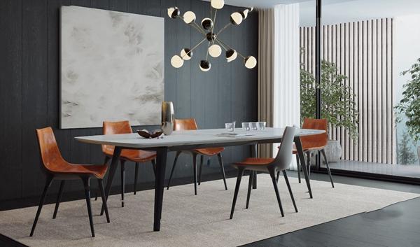 �F代�L形餐桌方向椅3d模型