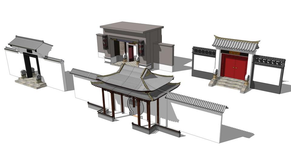 中式门头组合SU模型