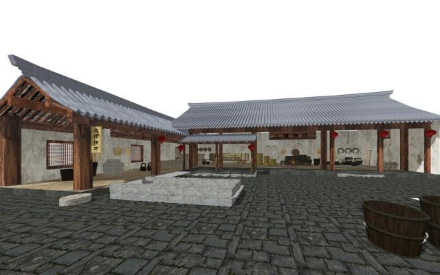 中式油坊SU模型