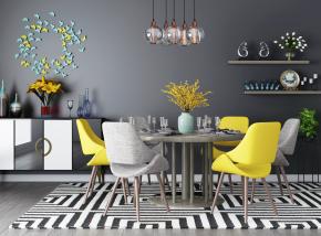 北欧餐桌椅边柜吊灯摆件组合3D模型