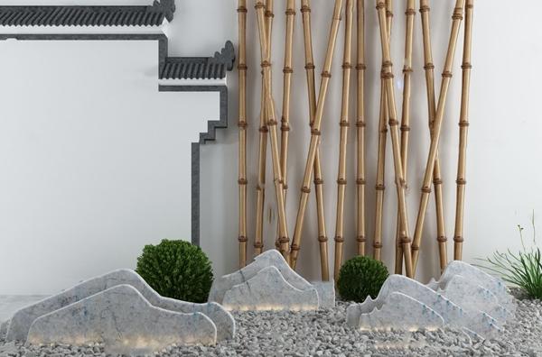 中式庭院假山竹子园艺小品3d模型