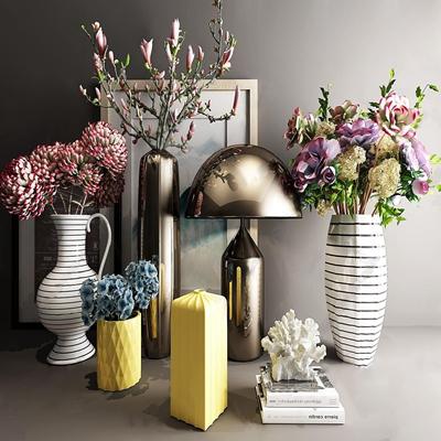 北欧花艺摆件 北欧花艺 摆件 台灯 装饰画 花瓶