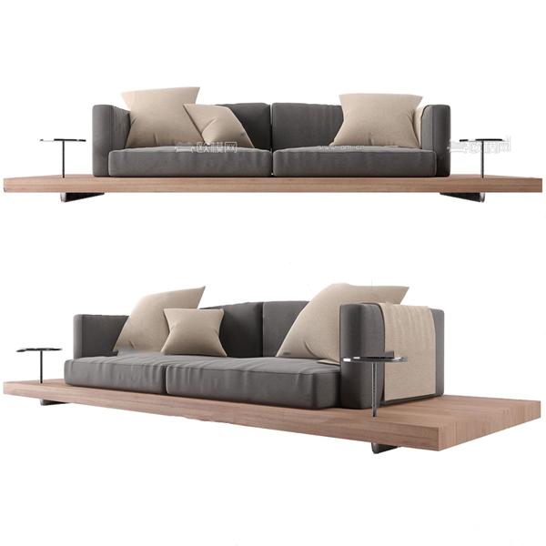 北欧原木双人沙发3d模型