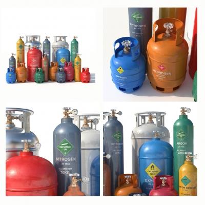 现代气体罐组合3D模型