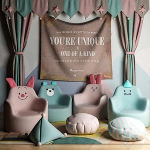 北欧儿童沙发 北欧单人沙发 坐垫 抱枕 窗帘