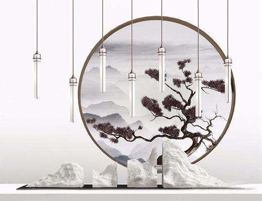 新中式端景组合 新中式摆件 石头雕塑 吊灯 松树 迎客松 装饰品 摆件 端景