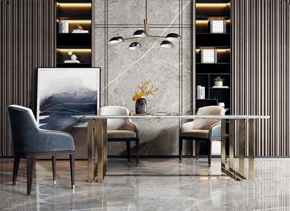 现代奢华餐桌椅吊灯组合 现代餐桌椅 奢华餐椅 大理石餐桌 吊灯 装饰画 饰品摆件
