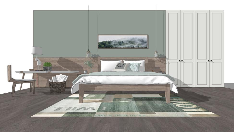 北欧风格卧室家具组合SU模型