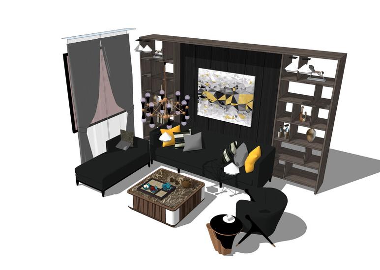 现代书房家具组合SU模型