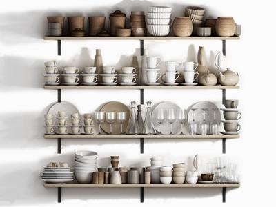 现代餐具 现代厨房用品 餐具 杯子 碟子 盘子 水杯 瓶子 水瓶 玻璃杯