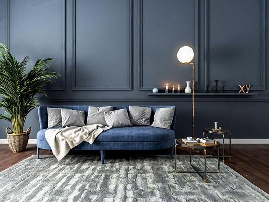 北欧沙发边几组合 北欧多人沙发 边几 圆几 落地灯 植物 摆件 背景墙 地毯
