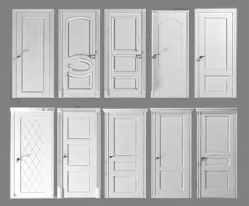 简欧卧室门组合 简欧门 门组合 门把手 木门