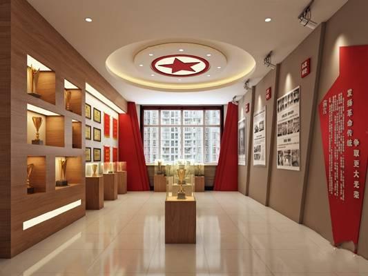 现代消防队荣誉展厅3D模型