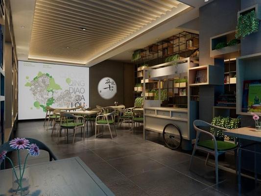 新中式火锅 新中式火锅店 餐桌椅 植物 摆件 装饰架