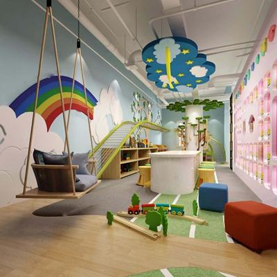 儿童少儿培训中心 儿童娱乐区 体验馆 少儿 书吧 前台接待 幼儿园 烘焙 亲子 跑道 摇椅