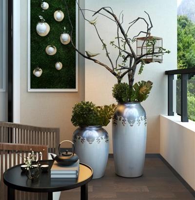 新中式阳台花艺组合 新中式花艺 茶几 沙发 植物画 茶具 鸟笼 新中式花艺 茶几 沙发 植物画 茶具 鸟笼