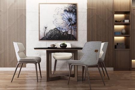 新中式餐桌椅 新中式餐桌椅 圆桌 单人椅 休闲椅 花瓶 装饰画 摆件
