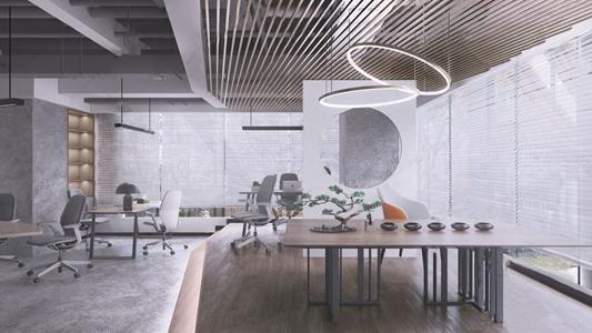 现代办公区 现代办公区 会议桌 会议椅 前台 茶桌 盆栽 吊灯 书柜 雕塑台