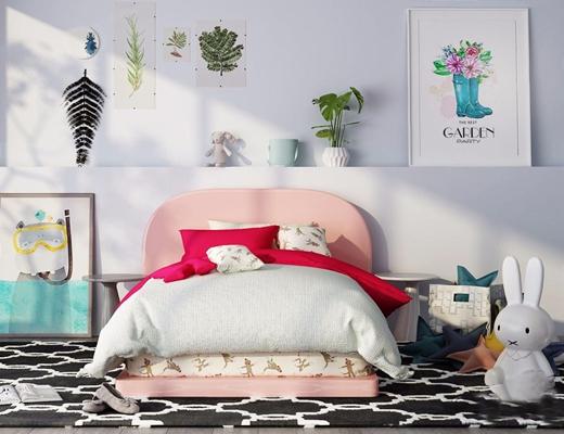 北欧儿童床 北欧单人床 挂画 玩具 地毯 儿童床