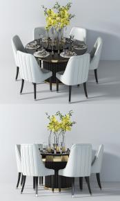 现代圆形餐桌椅餐具桌花组合3D模型