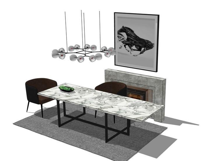 现代餐桌吊灯组合SU模型