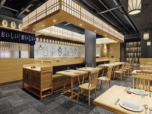 日式料理店 日式餐厅 店面 料理店 餐桌椅 吊灯 卡座 背景墙 门头 餐具