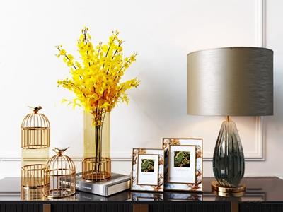 新中式鸟笼花瓶摆件 新中式饰品摆件 花瓶 相框 装饰品 烛台 花卉