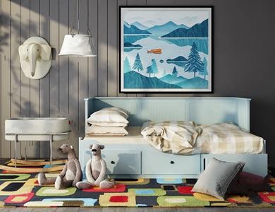 北欧儿童房家具组合 北欧单人床 边几 吊灯 墙饰 挂画 床品 玩具 地毯