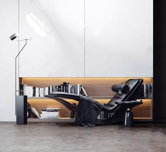 現代躺椅組合 現代躺椅 落地燈 裝飾畫 書 書架