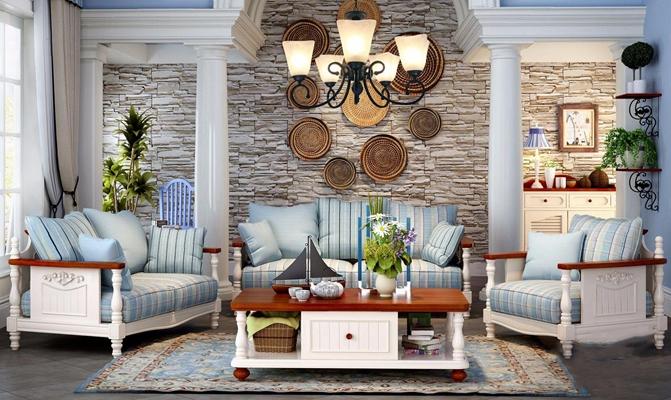 地中海沙发组合 地中海组合沙发 茶几 边几 单人沙发 双人沙发 吊灯 墙饰 边柜 台灯 绿植 摆件 地毯