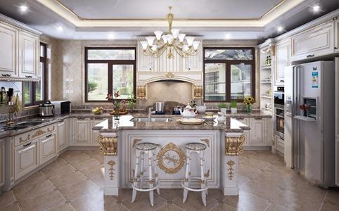 法式廚房 法式廚房 描金櫥柜 吊燈 吧椅 廚具 冰箱 飾品擺件