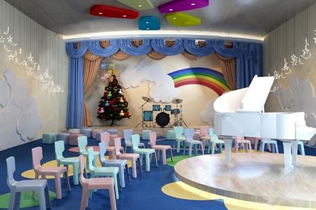 現代幼兒園 現代學校 鋼琴 兒童椅 架子鼓 卡通墻飾 圣誕樹