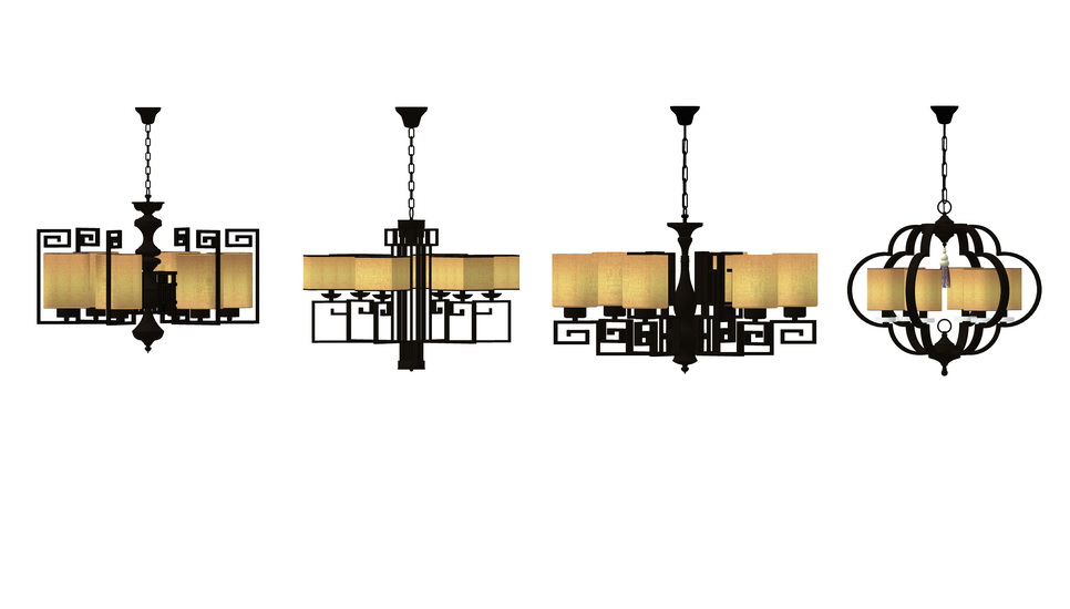 中式吊灯组合SU模型