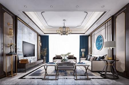新中式客厅 新中式客厅 多人沙发 单人沙发 茶几 折叠凳 角几 电视柜 雕塑台 吊灯