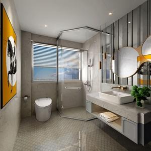 现代卫生间 现代卫浴 台盆 卫浴柜 马桶 淋浴间 装饰画