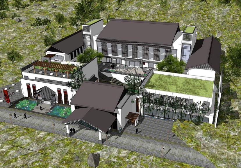 山地中式酒店SU模型