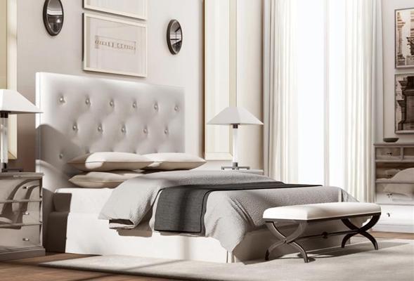 美式床具 美式双人床 床头柜 床尾凳 台灯 边柜 墙饰