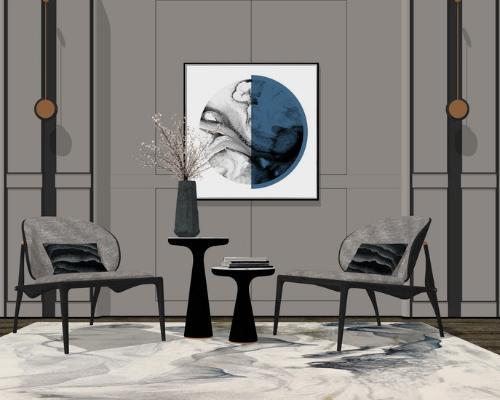 新中式休闲椅子边几组合SU模型