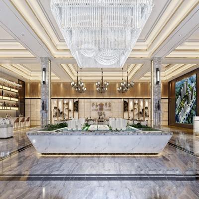 新中式售楼处大厅 新中式售楼处 售楼大厅会客厅 沙盘 水晶吊灯 吧台 吧椅 单人沙发 茶几