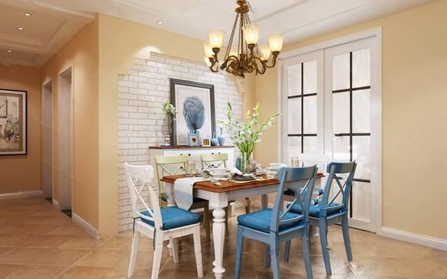美式餐厅3D模型 餐桌椅 吊灯 背景墙 装饰画