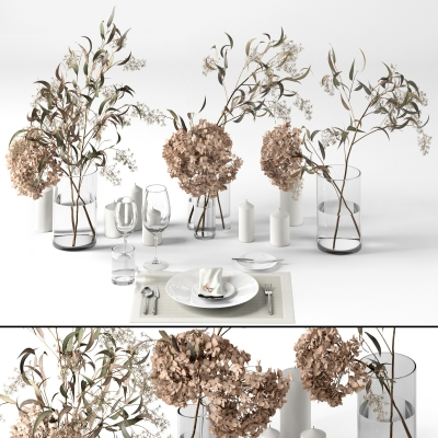 现代餐具花瓶花卉组合3d模型