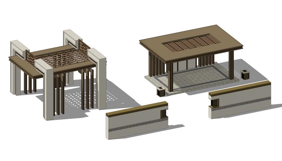 现代亭子廊架景墙组合SU模型