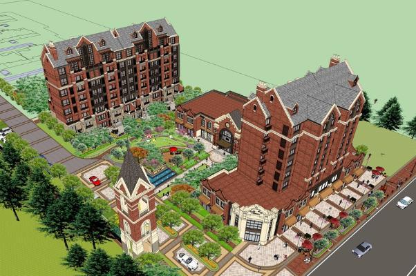 英式多层住宅SU模型