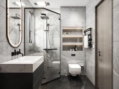 现代卫生间浴室3d模型