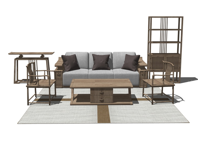 中式客厅沙发茶几置物架组合SU模型