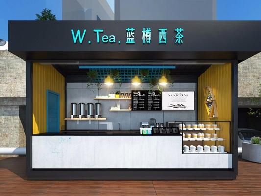 集装箱工业风奶茶店 工业风餐饮 集装箱 奶茶店 门头 店中店